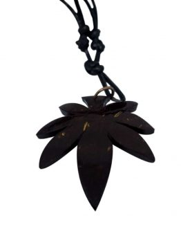 Coconut shell marijuana leaf necklace