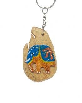 Sri Lankan Elephant wooden key tag