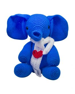 HEART TOUCHING KNITTED TOY BLUE ELEPHANT